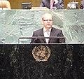 Välisminister Urmas Paeti sõnavõtt ÜRO peaassamblee mittenakkuslike haiguste teemalisel kõrgetasemelisel kohtumisel, 19. september 2011 (6164406476).jpg