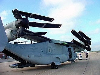 Bell Boeing V-22 Osprey - A V-22 in a compact storage configuration during the navy's evaluation, 2002
