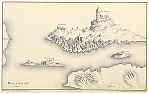 Battle of Marstrand - Carlsten fortress during the Danish siege, 1677, with Hedvigsholm, Malepert, and Gustafsberg.