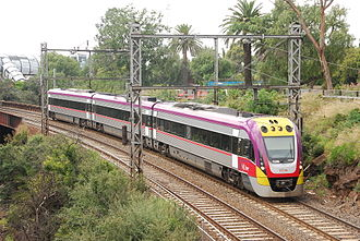 V/Line VLocity - VL44 in the 2010 livery in Footscray in January 2011