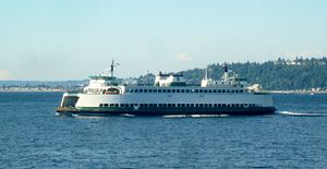 MV Sealth - The Sealth leaves Fauntleroy for Vashon. Taken from the M/V Cathlamet.