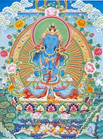 Vajradhara, the tantric form of Shakyamuni, teacher of the tantra.