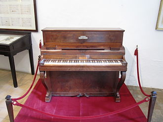 Pleyel et Cie - Chopin's Pleyel piano in Cell No. 4 in Valldemossa Charterhouse in Majorca, one of only two in the world.