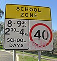 Vandalised School Zone sign.jpg