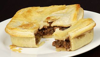 Meat analogue - A vegan faux-meat pie, containing soy protein and mushrooms, from an Australian bakery