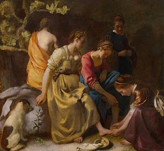 <i>Diana and Her Companions</i> painting by Johannes Vermeer