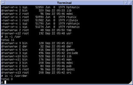 Version 7 Unix, the Research Unix ancestor of all modern Unix systems Version 7 Unix SIMH PDP11 Emulation DMR.png