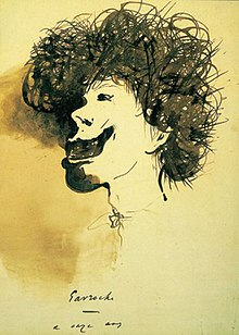 """Gavroche,"" Pen and ink drawing by Victor Hugo"