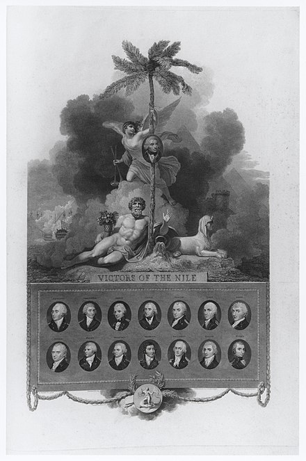'Victors of the Nile', a celebratory engraving published five years after the Battle of the Nile, depicting Nelson and his 14 captains. Victors of the Nile by Robert Bowyer.jpg