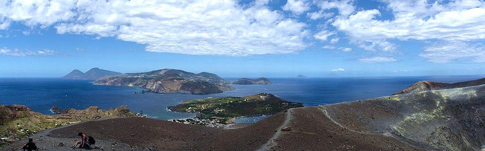 View from Vulcano, Aeolian Islands, Sicily, Italy