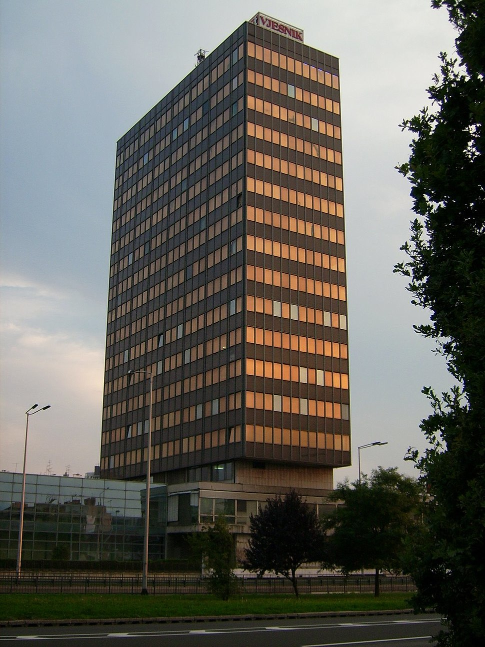 View towards south-west on Vjesnik skyscraper