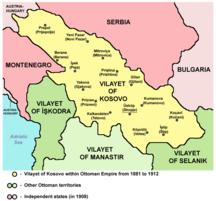 Koszovó-Török uralom (1455-1912)-Vilayet of Kosovo (1881–1913) map