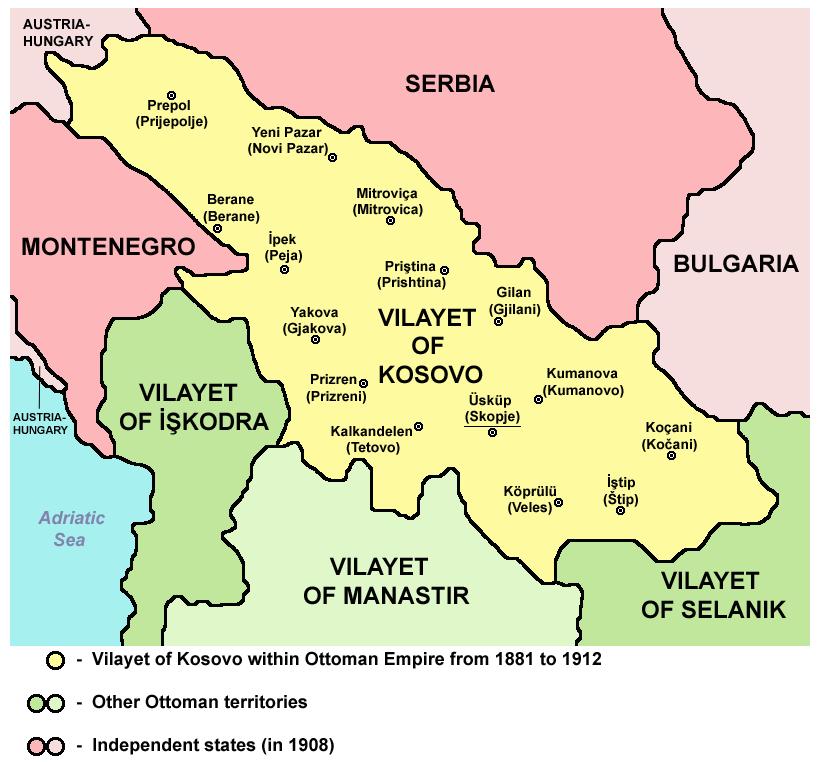 Vilayet of Kosovo (1881–1912) map