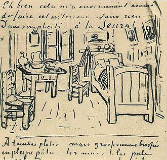 Bedroom in Arles - Sketch from a letter to Gauguin
