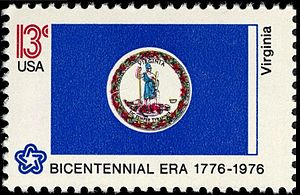 History of Virginia on stamps - Virginia State Flag, 1976 issue