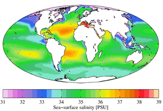 Salinity - Annual mean sea surface salinity for the World Ocean. Data from the World Ocean Atlas 2009.