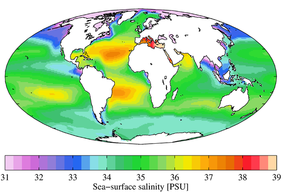 Annual mean sea surface salinity for the World Ocean. Data from the World Ocean Atlas 2009. WOA09 sea-surf SAL AYool.png