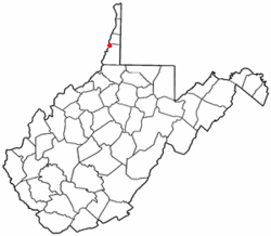 Location of Benwood, West Virginia