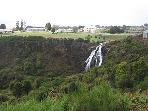 Waratah, Tasmania - Waratah Falls in Waratah with part of the town in the background