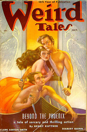 "Henry Kuttner - Another Elak story, ""Beyond the Phoenix,"" was cover-featured in the October 1938 Weird Tales"