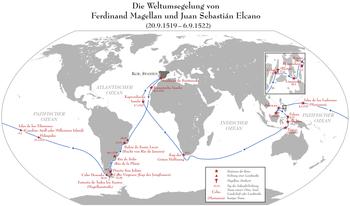 The Magellan and Elcanos circumnavigation route