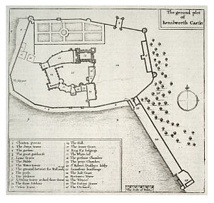 Tiltyard - A plan of Kenilworth Castle shortly before the English Civil War by Wenceslas Hollar. The tiltyard is the large rectangle on the south east corner of the plan.