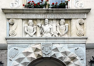 Wernberg - Wernberg Castle, relief of George Khevenhüller and his wives, 1575