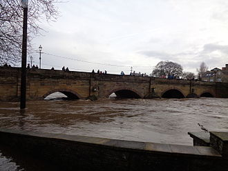 2015–16 Great Britain and Ireland floods - The River Wharfe risen  to the height of the bridge at Wetherby, West Yorkshire.