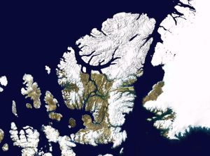 Canadian Arctic Archipelago - Satellite image montage showing Ellesmere Island and its neighbours, including Axel Heiberg Island (left of Ellesmere). Greenland is to the right in this photo.