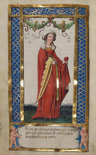 Beatrice of Swabia - Portrait in the Weingarten Stifterbüchlein (c. 1500)