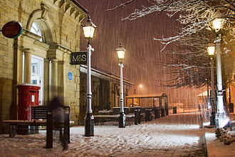 Ilkley - Early winter snowfall on Railway Road in the town centre