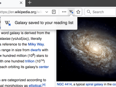 Example pop-up confirming when an article has been saved to a user's reading list in the Firefox browser.