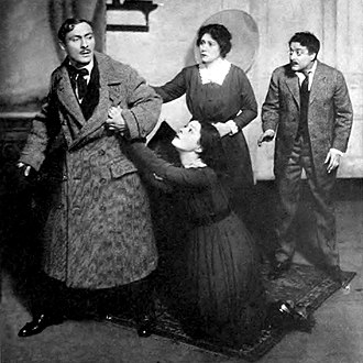 The Wild Duck - Lionel Atwill (Hjalmer Ekdal), Alla Nazimova (Hedvig), Amy Veness (Gina Ekdal) and Harry Mestayer (Gregers Werle) in the original Broadway production of The Wild Duck (1918)