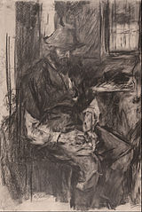 Farmer at a Table, Stuffing His Pipe