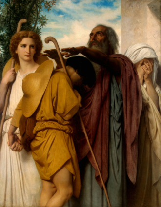 Book of Tobit - Tobias Saying Good-Bye to his Father. Painting by William-Adolphe Bouguereau (1860)