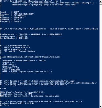 Command-line interface - Screenshot of Windows PowerShell 1.0, running on Windows Vista