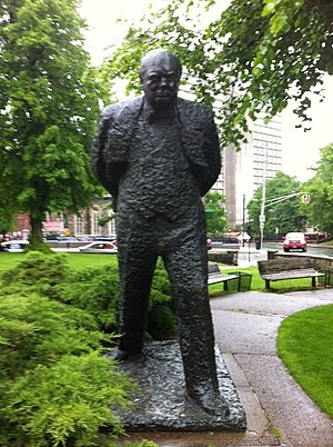 Spring Garden, Halifax - Statue of Winston Churchill outside the Spring Garden Memorial Library.