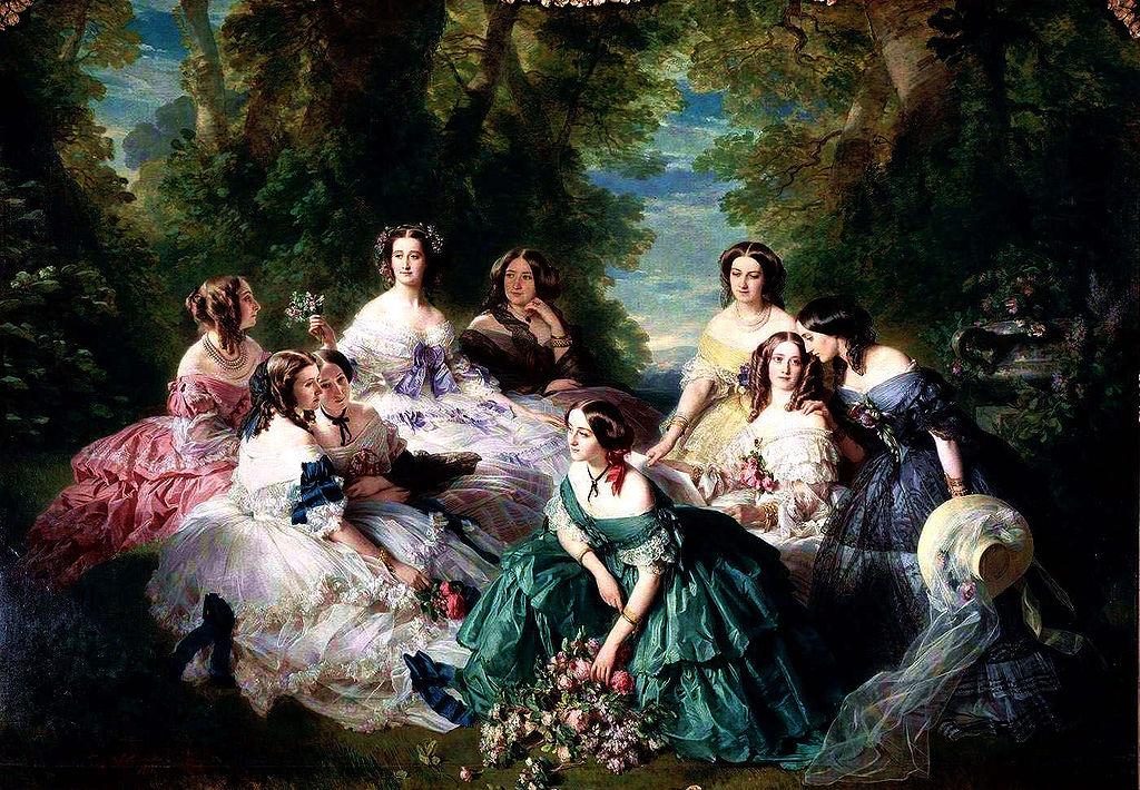 Franz Xaver Winterhalter: Eugenia, la emperatriz de los franceses, y sus damas. Retrato colectivo en el que aparecen la emperatriz Eugenia (Eugenia de Montijo), la baronesa de Pierres, la princesa de Essling, la vizcondesa de Lezay-Marnésia, la marquesa de Montebello, la duquesa de Bassano, la baronesa de Malaret, la marquesa de Las Marismas y la marquesa de Latour-Maubourg.