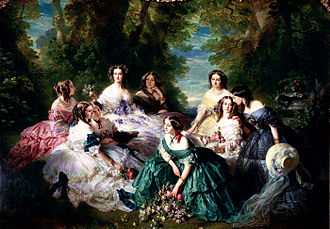 Eugénie de Montijo - The Empress Eugenie surrounded by her Ladies in waiting, circa 1855