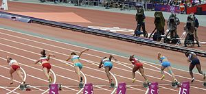 100 metres at the Olympics - Women competing in the first round of the Olympic 100 m in 2012