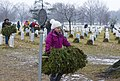 Wreath cleanup event, Girl carrying wreaths in Section 60 (16168057328).jpg
