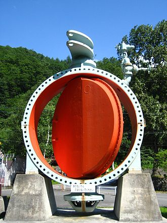 Butterfly valve - Large butterfly valve used on a hydroelectric power station water inlet pipe in Japan.