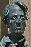 Memorial statue of William Butler Yeats located in Sligo, Ireland.