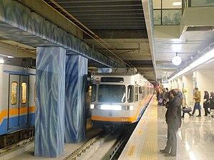 Yenikapı Transfer Center - M1A train from Atatürk Airport arriving on track 1.