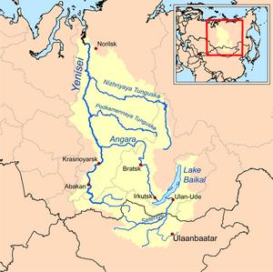 Nizhnyaya Tunguska River - Image: Yeniseirivermap