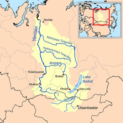 The Yenisei River in Siberia was the agreed division point of Eurasia between Japan and Nazi Germany Yeniseirivermap.png