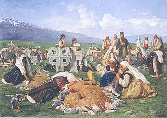 Zaduszki - Zadushnitsa in Bulgaria, painting by Ivan Mrkvička