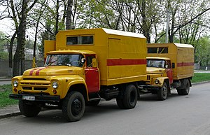 Amur (company) - Two AMUR trucks of the Ukrainian Emergency Service. ZiL-130 on the front and UamZ-43140(ZiL-131) in back.
