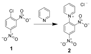 The formation of the DNP-pyridinium salt