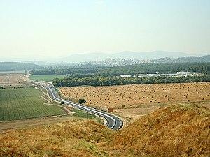 Megiddo church (Israel) - Megiddo prison from the top of Tel Megiddo. The church is located on the prison grounds.